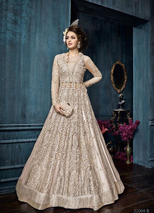 Peach Net Anarkali With Skirt 22004B Zoya Celebrity 22001 Series By Zoya