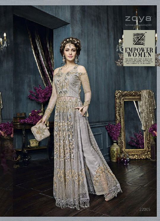 Grey Net Anarkali With Skirt 22005 Zoya Celebrity 22001 Series By Zoya