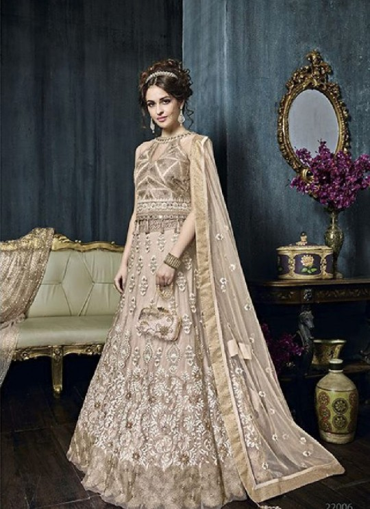 Gold Net Anarkali With Skirt 22006 Zoya Celebrity 22001 Series By Zoya
