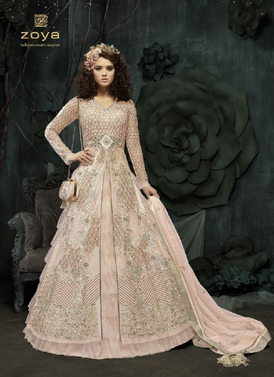 Pink Net Anarkali With Skirt 23001 Zoya SAPARKLE By Zoya