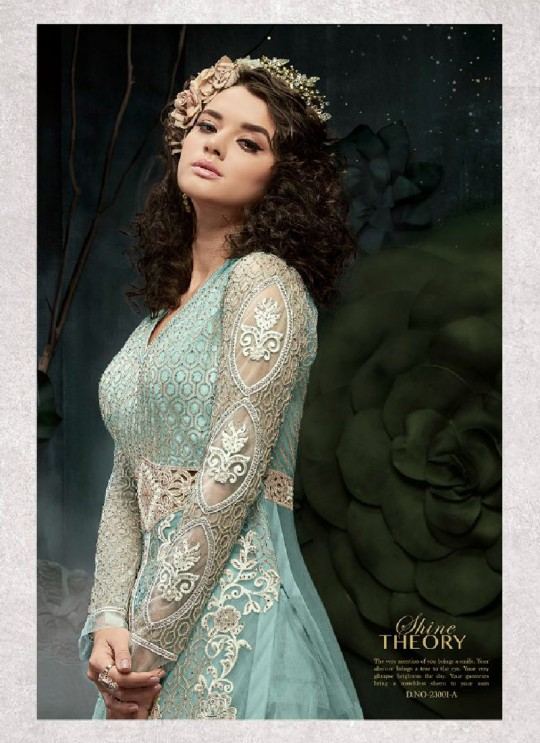 Turquoise Net Anarkali With Skirt 23001A Zoya SAPARKLE By Zoya