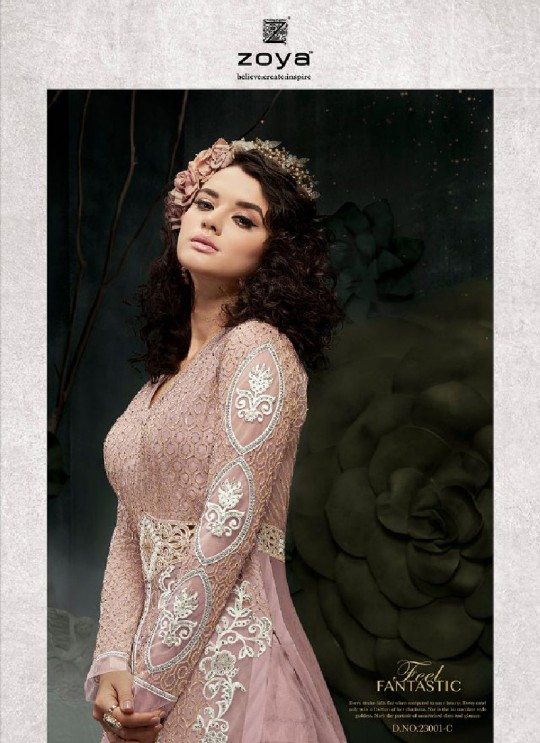 Pink Net Anarkali With Skirt 23001C Zoya SAPARKLE By Zoya