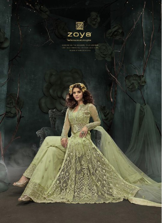 Green Net Pant Style Suit 23002 Zoya SAPARKLE By Zoya