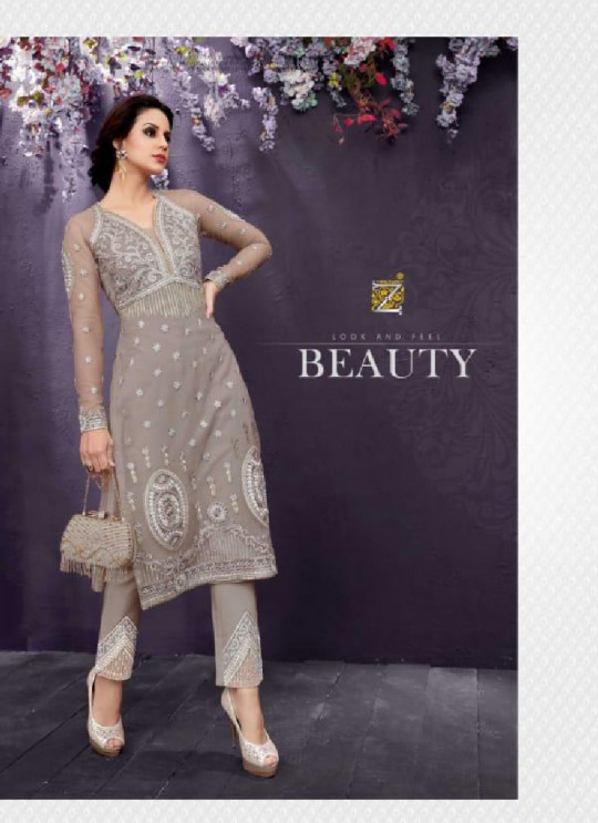 Grey Net Pant Style Suit 25009 EMOTIONS BY ZOYA 25001 TO 25009 SERIES By Zoya