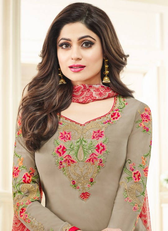 Aashirwad Sufia Light Grey Faux Georgette Straight Suit By Aashirwad Sufia-21005