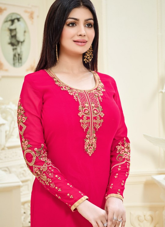 Aashirwad Saffron Vol 2 Pink Faux Georgette Straight Suit By Aashirwad Saffron Vol 2-2231