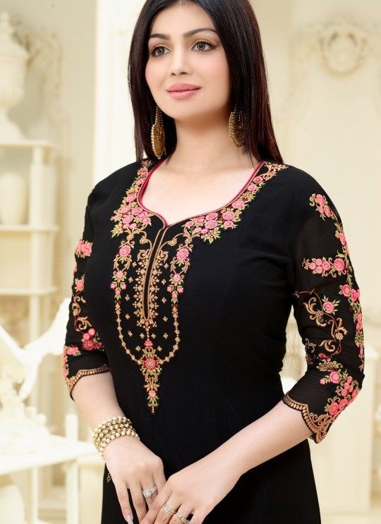 Aashirwad Saffron Vol 2 Black Faux Georgette Straight Suit By Aashirwad Saffron Vol 2-2236