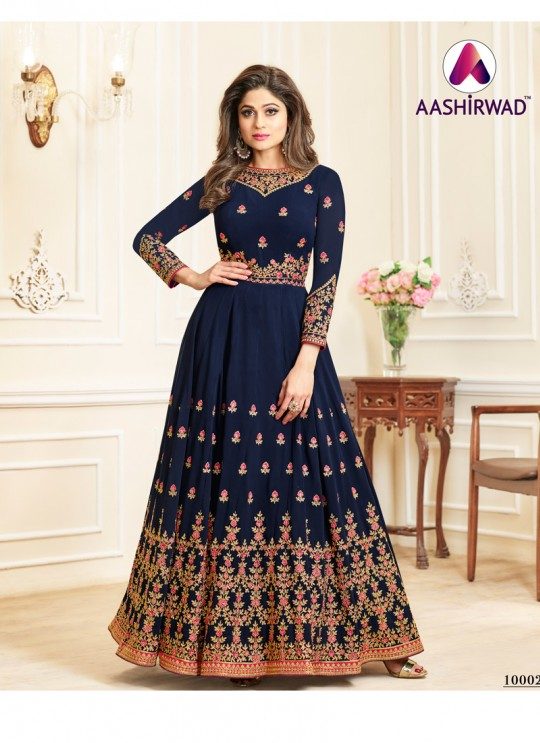 Aashirwad Celebrity Blue Faux Georgette Anarkali Suit By Aashirwad Celebrity-10002