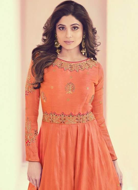 Aashirwad Monisha Orange Royal Silk Anarkali Suit By Aashirwad Monisaa-8013
