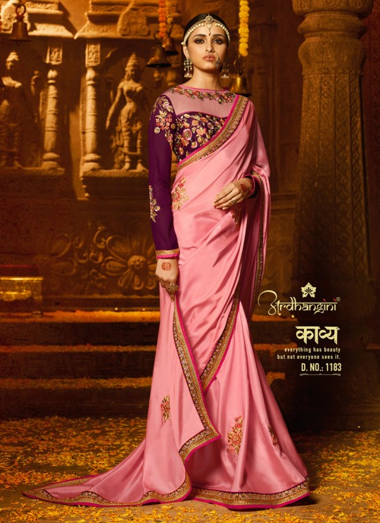 Pink Crape Wedding Saree Sakshi Vol 4 1183 By Ardhangini