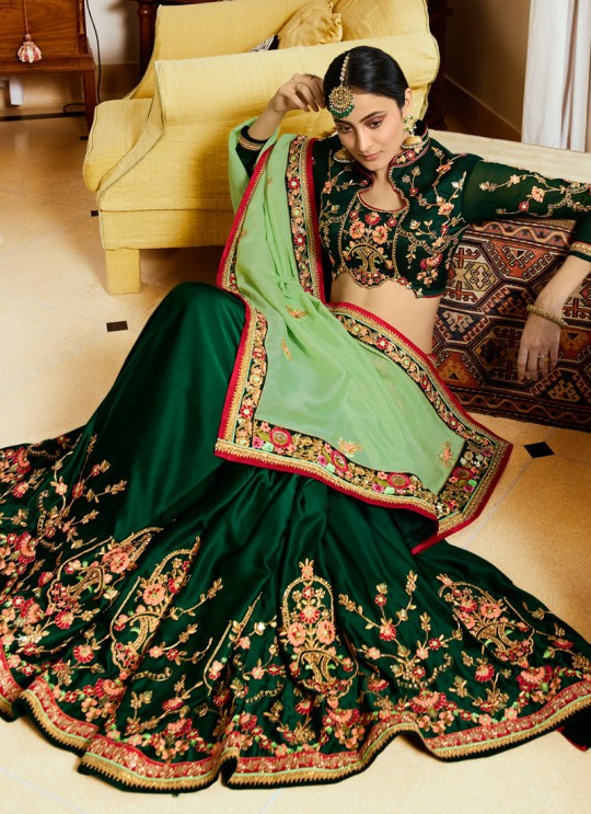 Green Crape N Silk Half N Half Saree Srushti Vol 1 4111 By Ardhangini