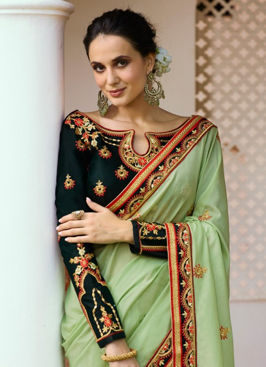 Pista Green Silk Wedding Saree Srushti Vol 1 4117 By Ardhangini