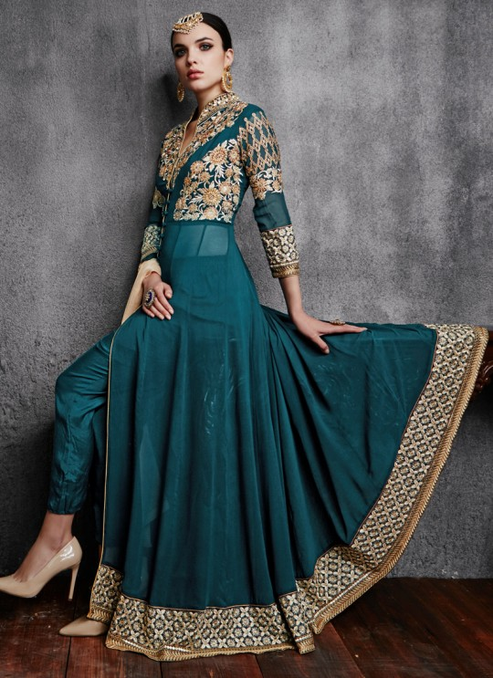 Teal Blue Georgette Embroidered Pant Style Suit HAMIM VOL 4 11003A Color By Arihant