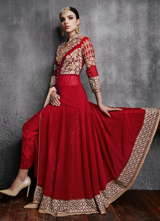 Red Georgette Embroidered Pant Style Suit 11000 Series 11003C Color By Arihant