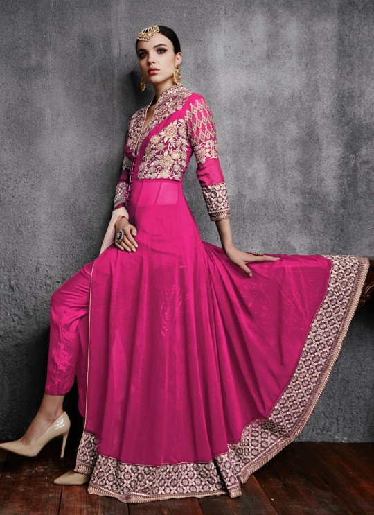 Magenta Georgette Embroidered Pant Style Suit 11000 Series 11003D Color By Arihant