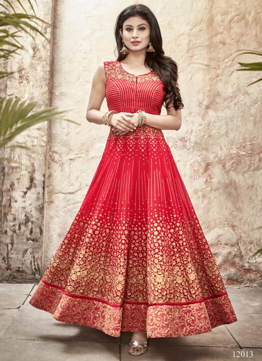 Red Georgette Embroidered Anarkali Suit 12013 Series 12013 By Arihant