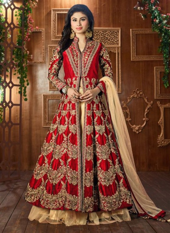 Red Art Silk Embroidered Jacket Style Anarkali SASHI VOL 6 12050 By Arihant