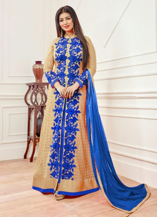 Beige N Blue Faux Georgette Embroidered Pant Style Suit SASHI VOL 6 12053 By Arihant