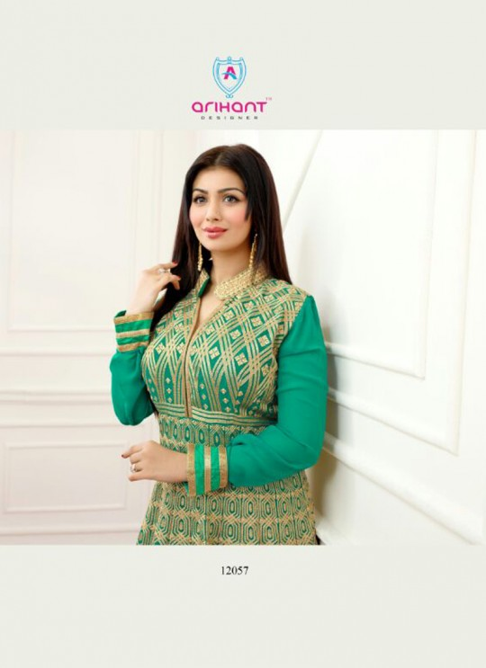 Green Faux Georgette Embroidered Anarkali Suit SASHI VOL 6 12057 By Arihant