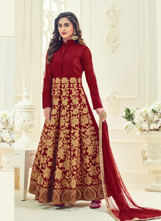Maroon Art Silk Embroidered Anarkali Suit SASHI VOL 8 GOLD 12065 By Arihant