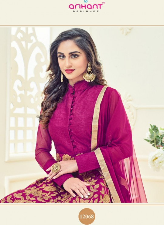 Pink Art Silk Embroidered Anarkali Suit SASHI VOL 8 GOLD 12068 By Arihant