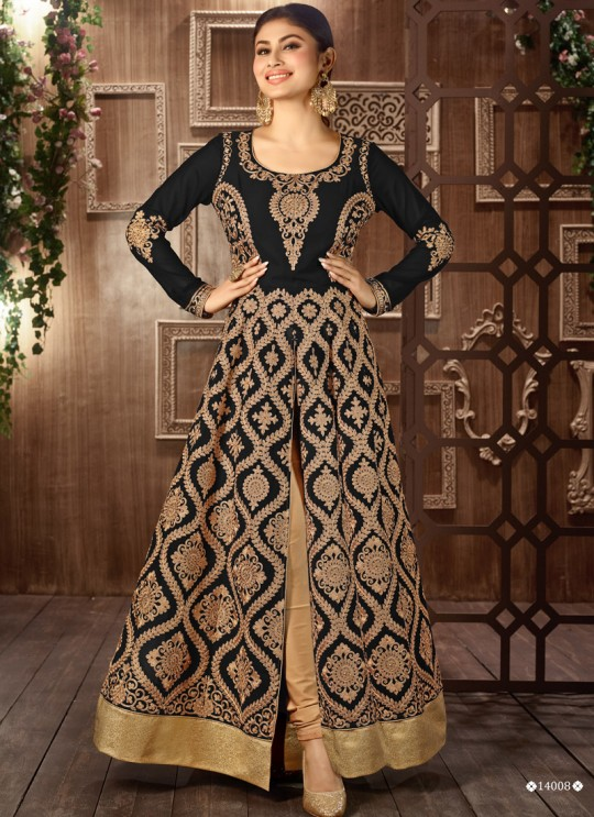Black Art Silk Embroidered Pant Style Suit 14008 Colours 14008C Color By Arihant