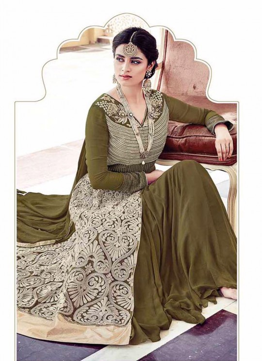 Mehandi Green Georgette Embroidered Anarkali Suit HAMIM VOL 6 16006 By Arihant