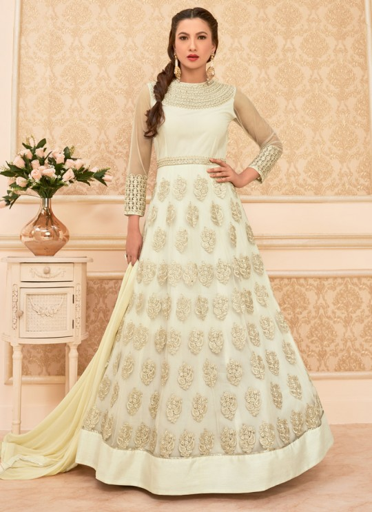 Cream Georgette Embroidered Anarkali Suit HAMIM VOL 7 16012 By Arihant