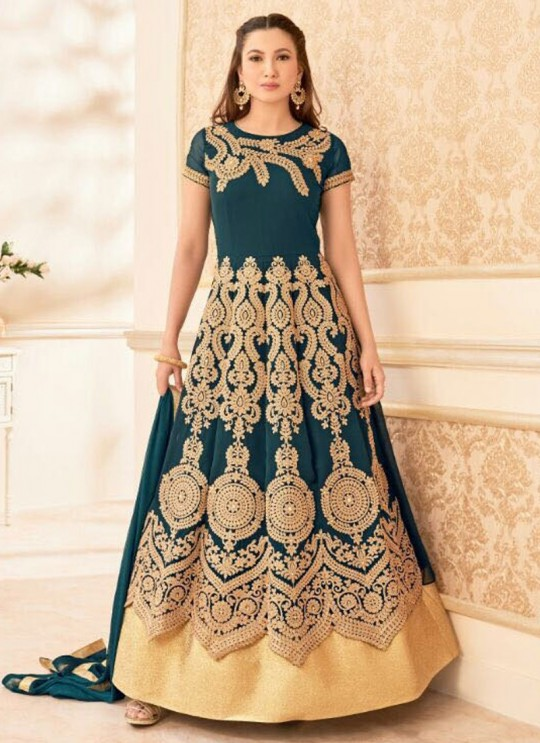 Blue Georgette Embroidered Anarkali Suit HAMIM VOL 7 16016A Color By Arihant