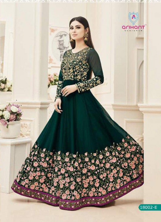 Deep Green Net Embroidered Floor Length Anarkali ROSSELL VOL 2 18002 Green By Arihant