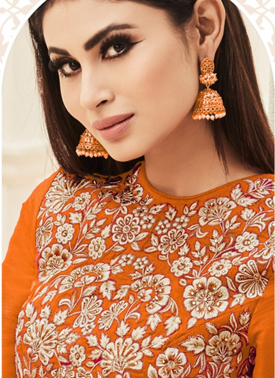 Orange Art Silk Embroidered Floor Length Anarkali ROSSELL VOL 2 18004E Color By Arihant