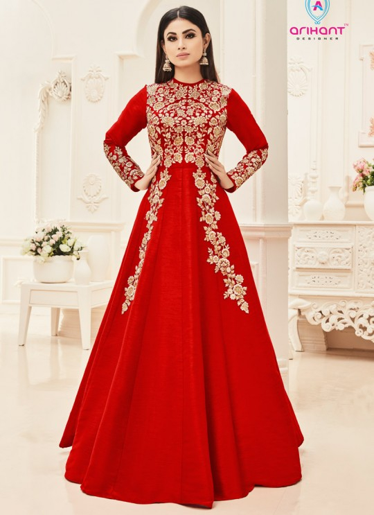 Red Art Silk Embroidered Floor Length Anarkali ROSSELL VOL 2 18004D Color By Arihant