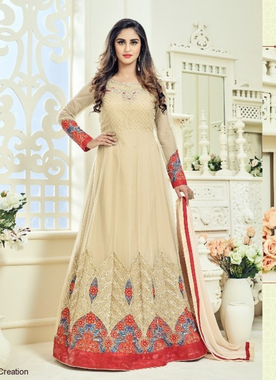 Gold Net Embroidered Floor Length Anarkali ROSSELL VOL 2 18009 By Arihant