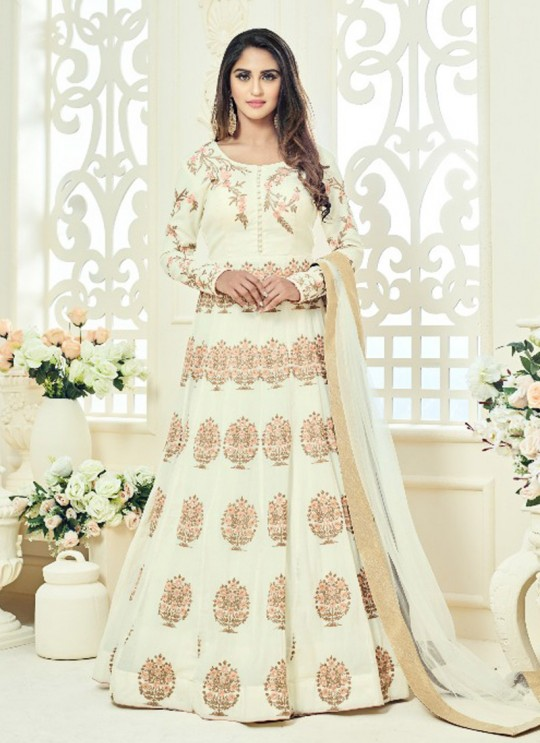 Cream Faux Georgette Embroidered Floor Length Anarkali ROSSELL VOL 2 18011 By Arihant