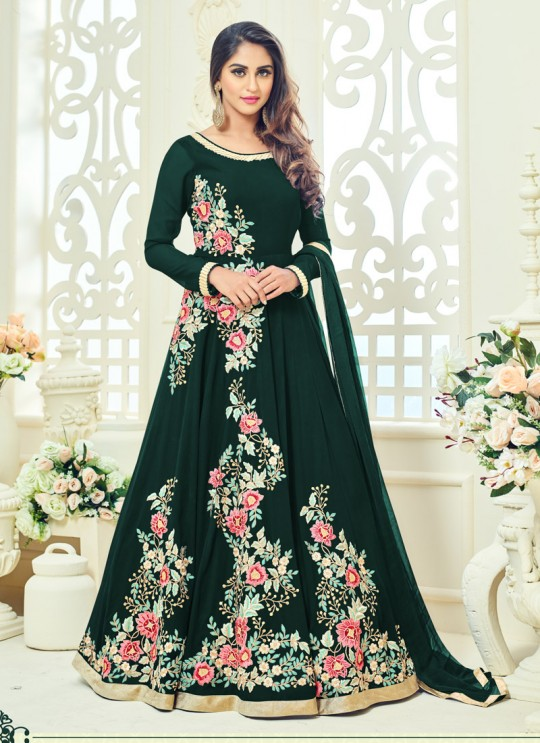 Green Faux Georgette Embroidered Floor Length Anarkali ROSSELL VOL 2 18012 Green By Arihant