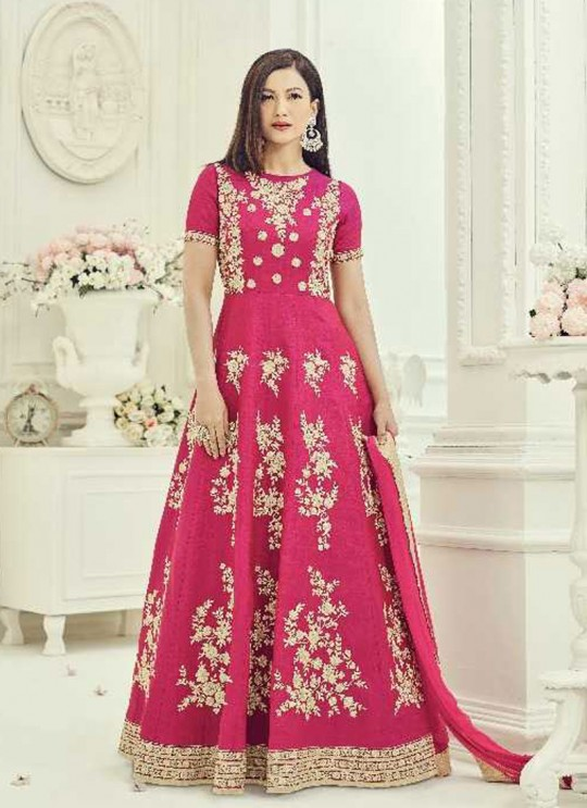 Pink Art Silk Embroidered Floor Length Anarkali ROSSELL VOL 3 18013 By Arihant