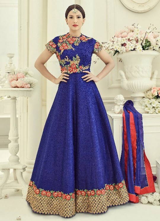 Blue Art Silk Embroidered Floor Length Anarkali ROSSELL VOL 3 18014 By Arihant