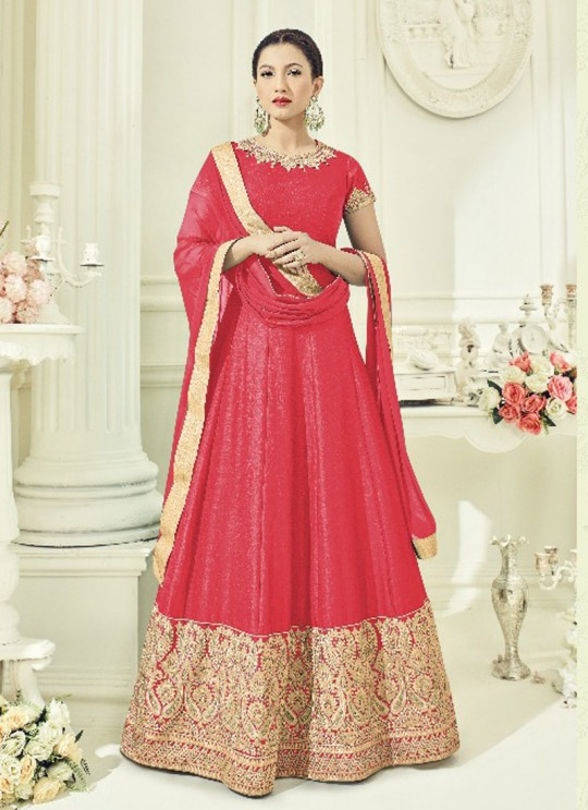 Pink Art Silk Embroidered Floor Length Anarkali ROSSELL VOL 3 18016B Color By Arihant