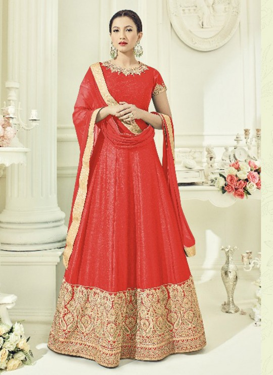 Orange Art Silk Embroidered Floor Length Anarkali ROSSELL VOL 3 18016D Color By Arihant