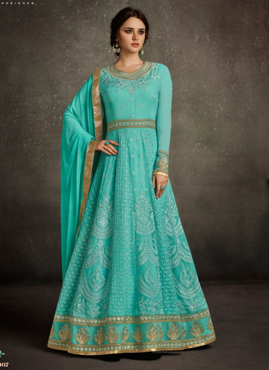 Turquoise Georgette Embroidered Floor Length Anarkali RIHANNA VOL 2 27007 By Arihant