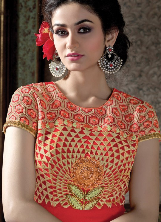 Red Georgette Embroidered Straight Suit HELLIATE 7003 By Arihant