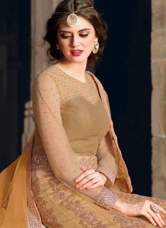 Gold Net Embroidered Floor Length Anarkali 1440 Series 1441 By Bela Fashion