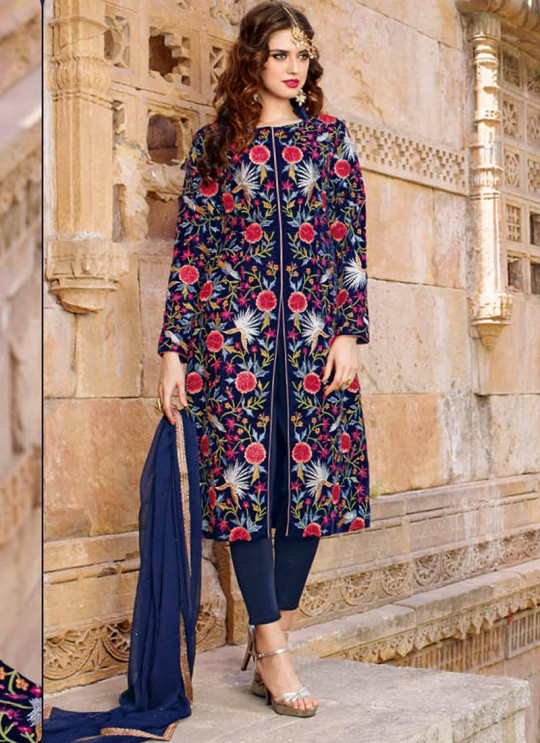Blue Viscose Satin Embroidered Jacket Style Suit 1440 Series 1443 By Bela Fashion