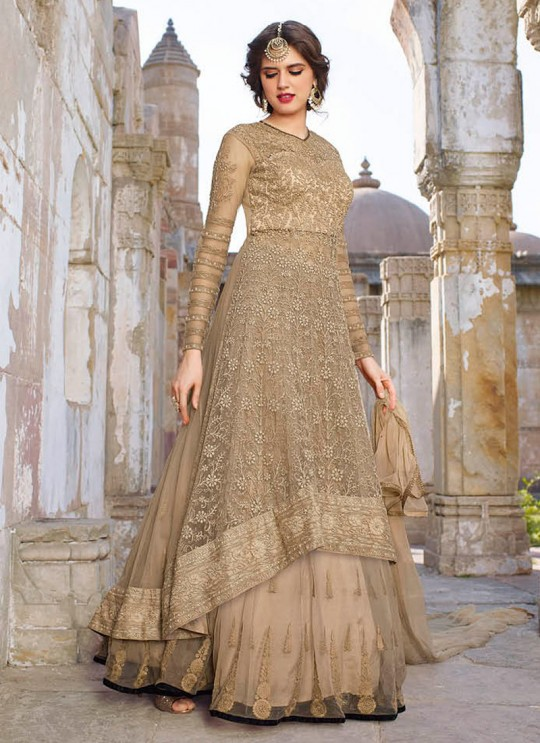 Beige Net Embroidered Floor Length Anarkali 1440 Series 1448 By Bela Fashion