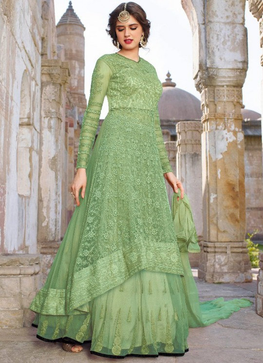 Green Net Embroidered Floor Length Anarkali 1440 Series 1448 Color By Bela Fashion