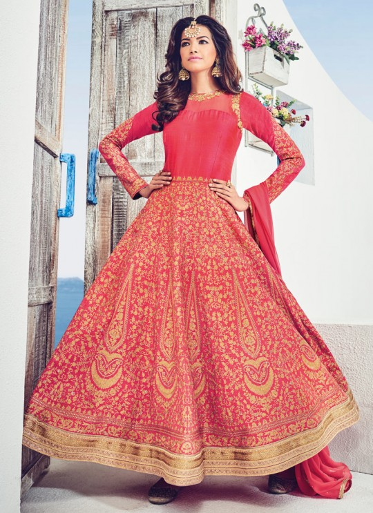 Red Silk Embroidered Floor Length Anarkali Adore 1534 By Bela Fashion