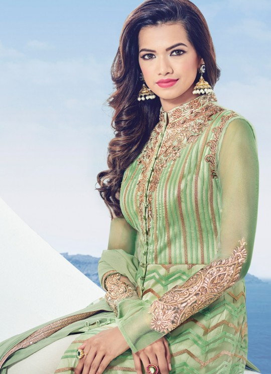 Green Net Embroidered Floor Length Anarkali Adore 1536 By Bela Fashion