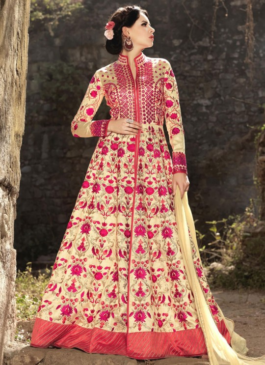 Cream Silk Embroidered Floor Length Anarkali HARITAGE 1576 By Bela Fashion