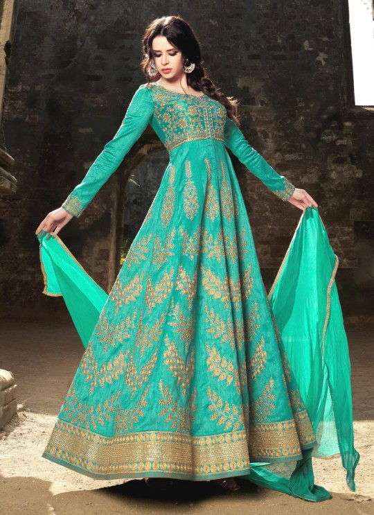 Turquoise Silk Embroidered Floor Length Anarkali HARITAGE 1582 By Bela Fashion