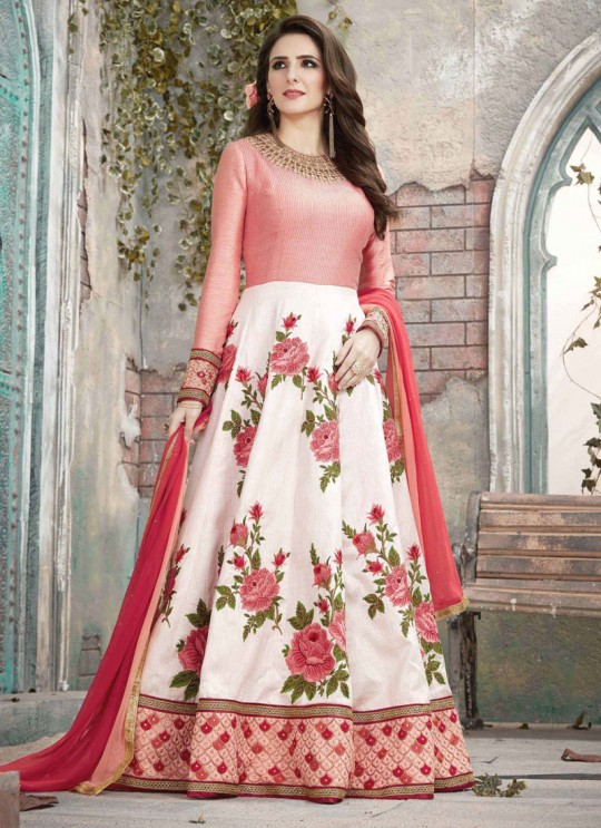 Pink Fancy Fabric Embroidered Floor Length Anarkali MONARK 1588 By Bela Fashion